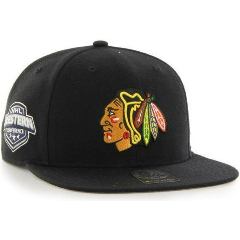 casquette-plate-noire-snapback-chicago-blackhawks-nhl-captain-47-brand