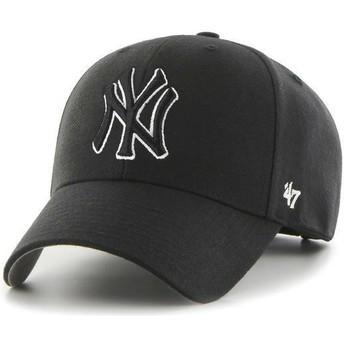 Casquette courbée noire avec logo noir et blanc snapback avec logo noire New York Yankees MLB MVP 47 Brand