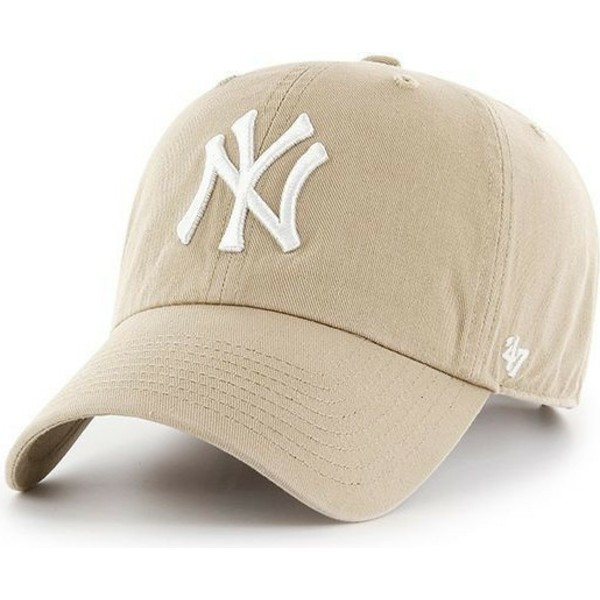 casquette-courbee-beige-new-york-yankees-mlb-clean-up-47-brand