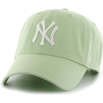 Casquette courbée verte claire avec logo blanc New York Yankees MLB Clean Up 47 Brand