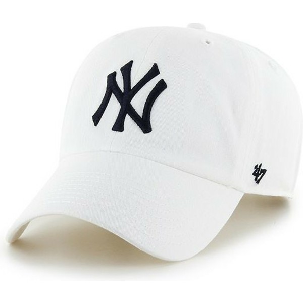 casquette-courbee-blanche-new-york-yankees-mlb-clean-up-47-brand