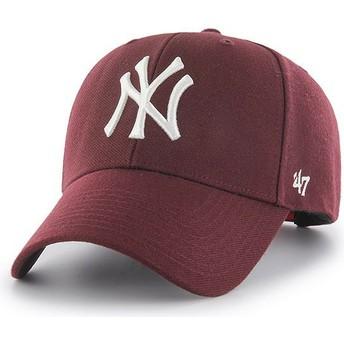 Casquette courbée grenat avec logo blanc snapback New York Yankees MLB MVP 47 Brand