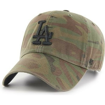 Casquette courbée camouflage avec logo noir Los Angeles Dodgers MLB Regiment Clean Up 47 Brand