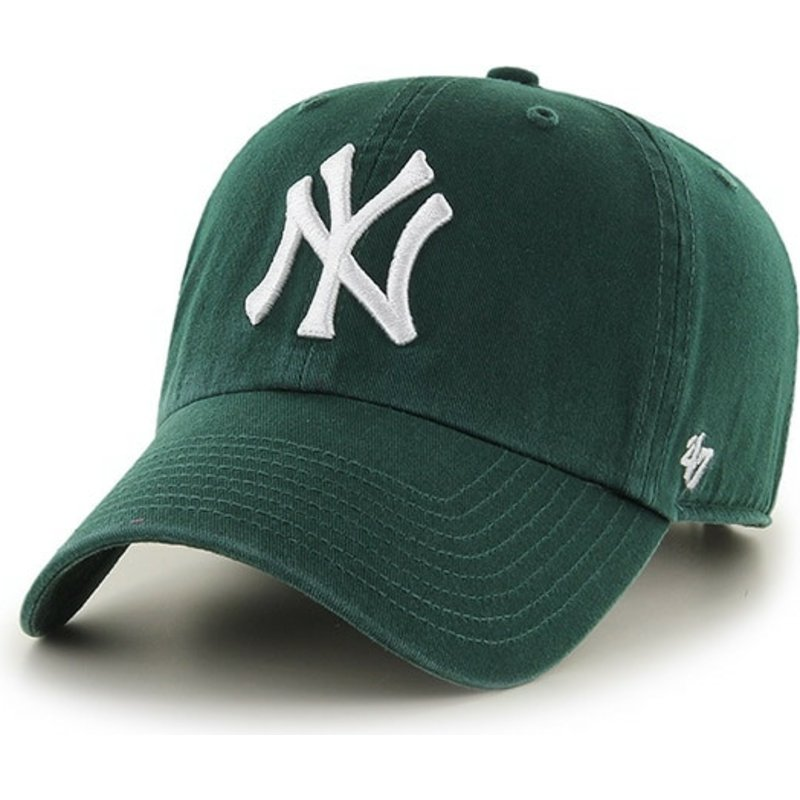 casquette-courbee-verte-fonce-avec-logo-blanc-new-york-yankees-mlb-clean-up-47-brand