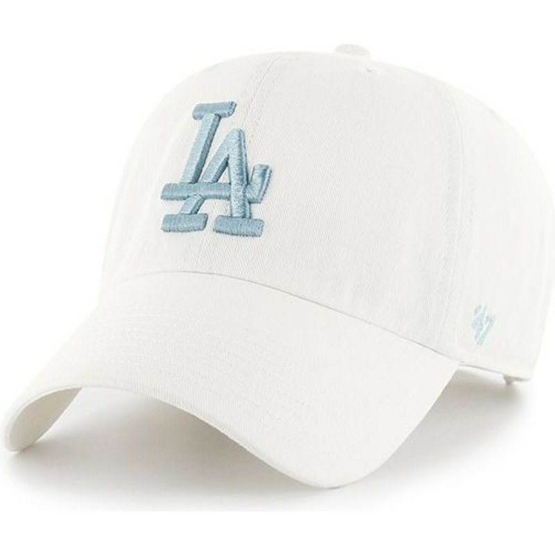 casquette-courbee-blanche-avec-logo-bleue-los-angeles-dodgers-mlb-clean-up-47-brand