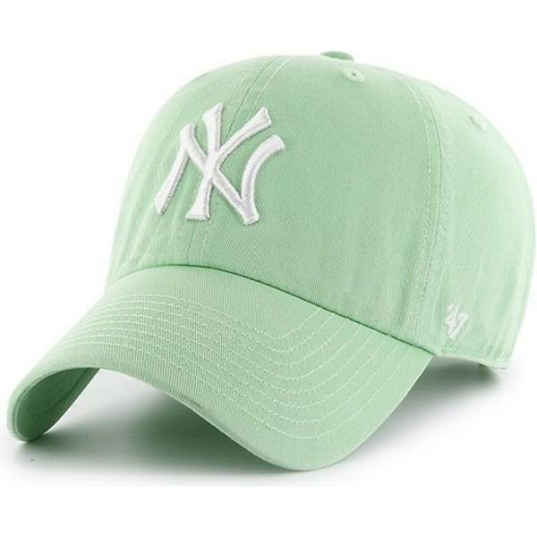casquette-courbee-verte-claire-new-york-yankees-mlb-clean-up-47-brand
