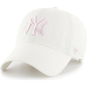 Casquette courbée blanche avec logo rose New York Yankees MLB Clean Up 47 Brand