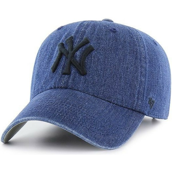 casquette-courbee-bleue-marine-denim-new-york-yankees-mlb-clean-up-meadowood-47-brand