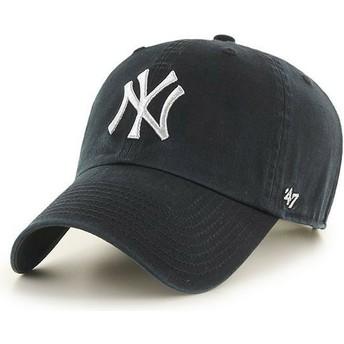 Casquette courbée noire avec logo argent New York Yankees MLB Clean Up Metallic 47 Brand
