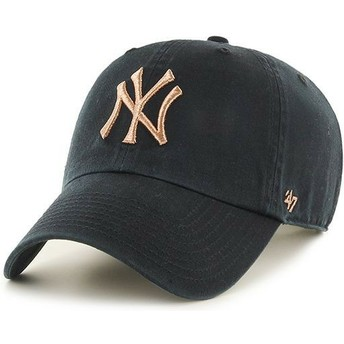 Casquette courbée noire avec logo bronze New York Yankees MLB Clean Up Metallic 47 Brand