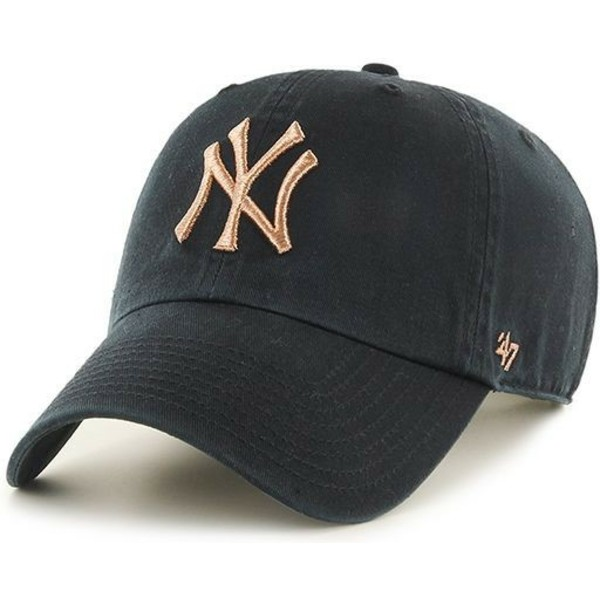 casquette-courbee-noire-avec-logo-bronze-new-york-yankees-mlb-clean-up-metallic-47-brand