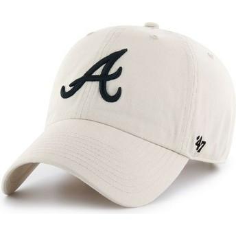 Casquette courbée crème Atlanta Braves MLB Clean Up 47 Brand