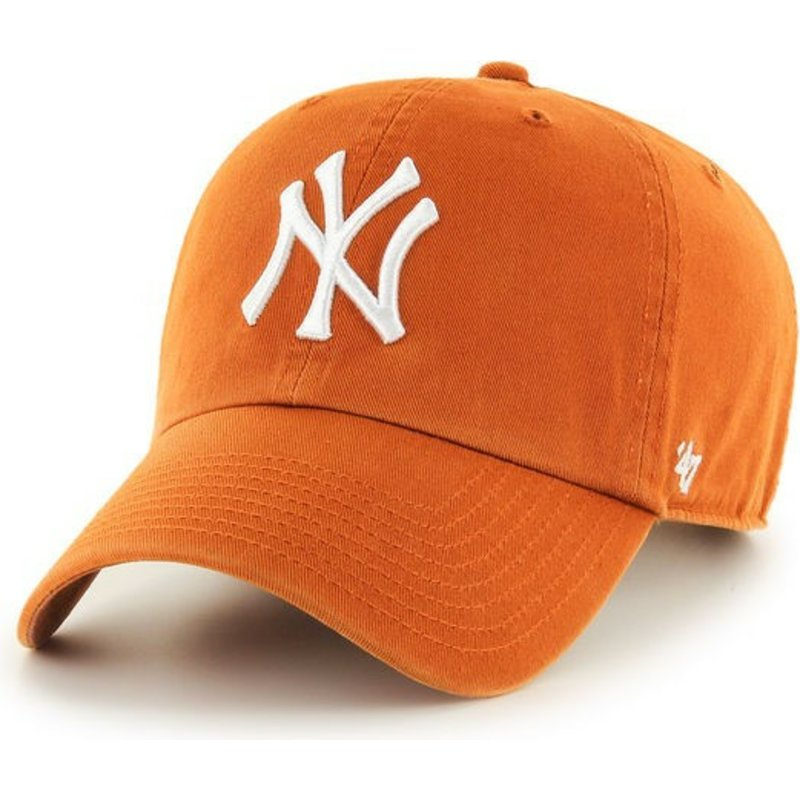 casquette-courbee-orange-new-york-yankees-mlb-clean-up-47-brand