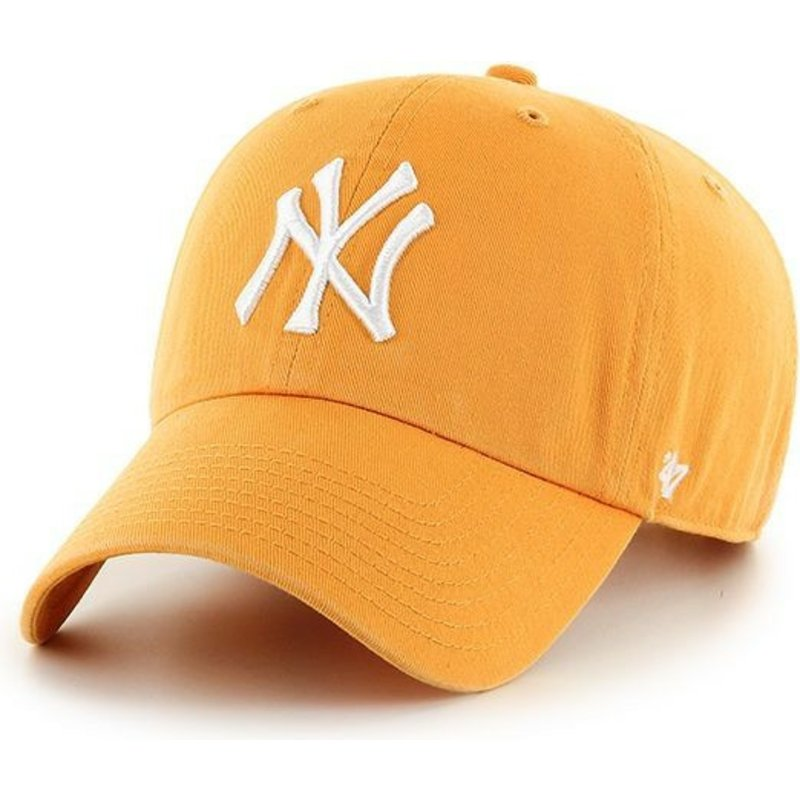 casquette-courbee-jaune-new-york-yankees-clean-up-47-brand