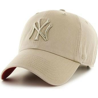 Casquette courbée beige avec logo beige New York Yankees MLB Clean Up 47 Brand