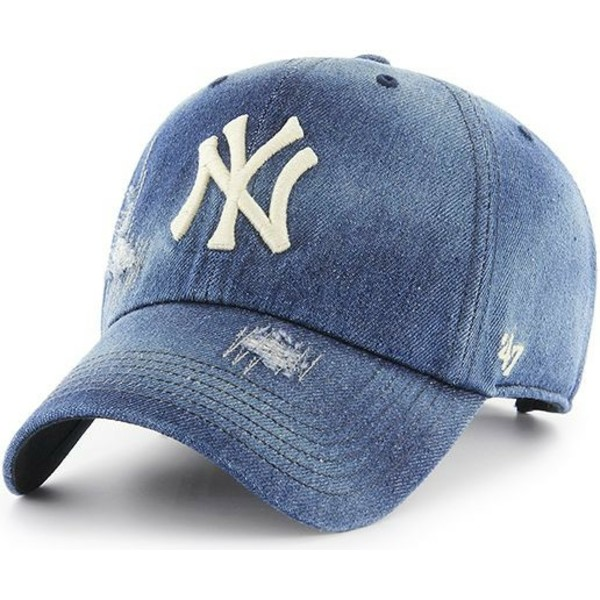 casquette-courbee-bleue-marine-denim-new-york-yankees-mlb-clean-up-loughlin-47-brand