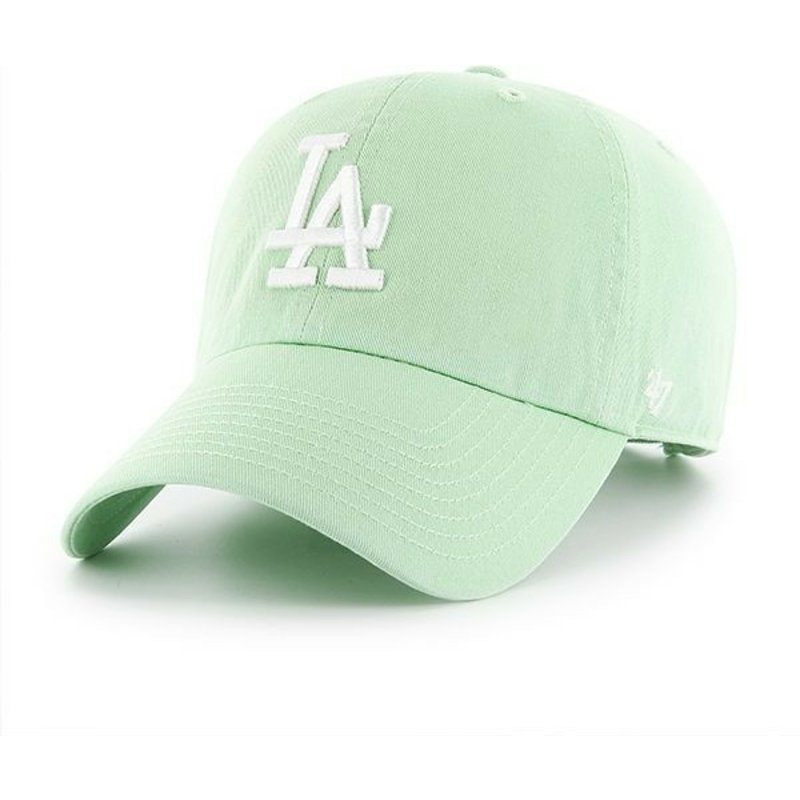 casquette-courbee-verte-claire-los-angeles-dodgers-mlb-clean-up-47-brand