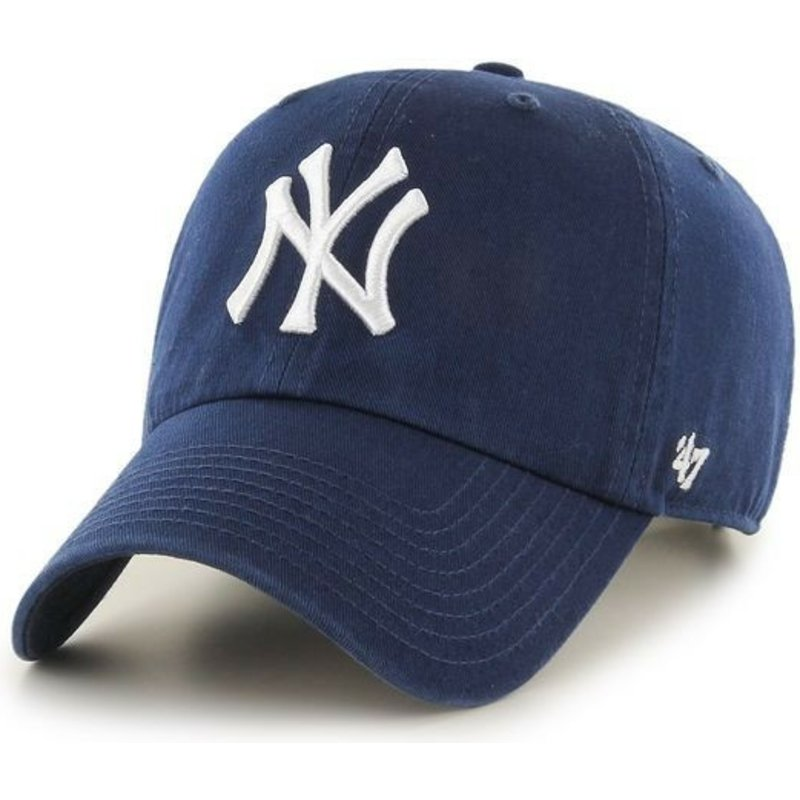 casquette-courbee-bleue-marine-claire-new-york-yankees-mlb-clean-up-47-brand