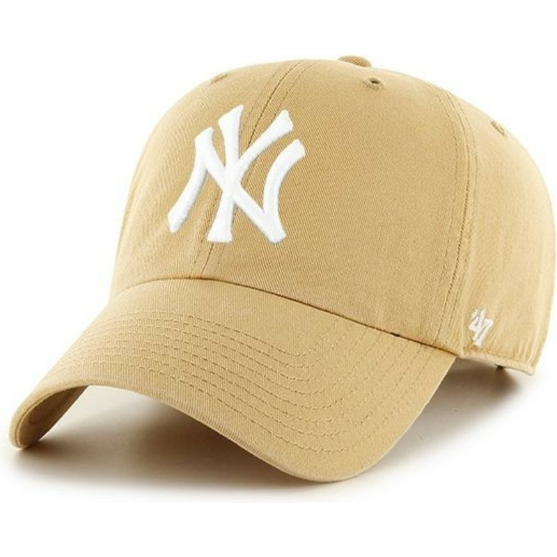 casquette-courbee-marron-claire-new-york-yankees-mlb-clean-up-47-brand