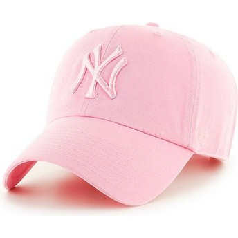 Casquette courbée rose avec logo rose New York Yankees MLB Clean Up 47 Brand