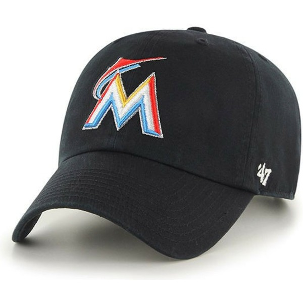 casquette-courbee-noire-miami-marlins-mlb-clean-up-47-brand