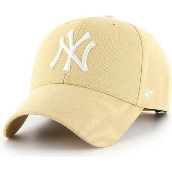 casquette-courbee-jaune-or-claire-snapback-new-york-yankees-mlb-mvp-47-brand