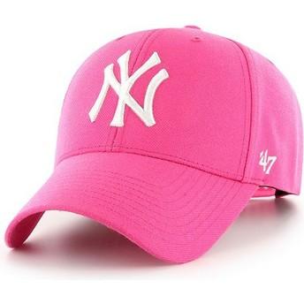 Casquette courbée rose magenta snapback New York Yankees MLB MVP 47 Brand