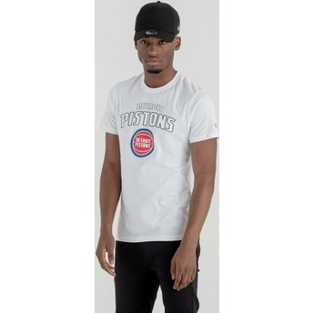 T-shirt à manche courte blanc Detroit Pistons NBA New Era