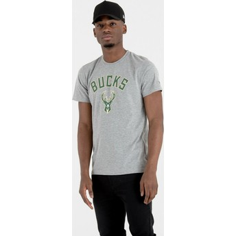 T-shirt à manche courte gris Milwaukee Bucks NBA New Era