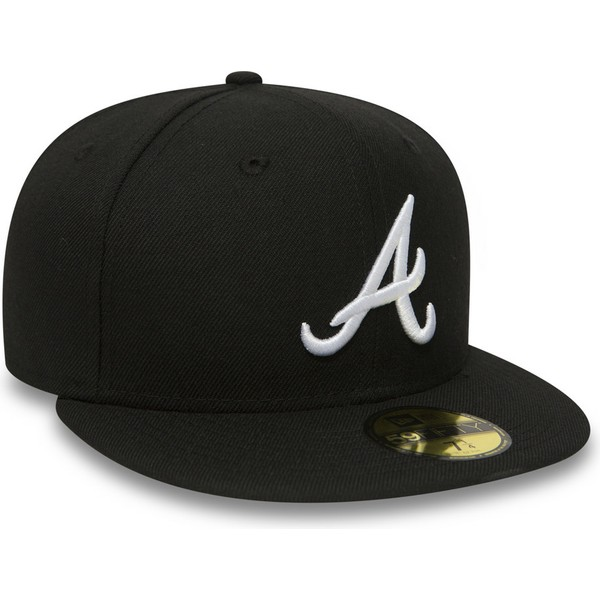 casquette-plate-noire-ajustee-59fifty-essential-atlanta-braves-mlb-new-era