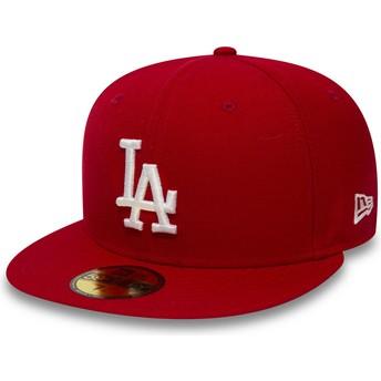 Casquette plate rouge ajustée 59FIFTY Essential Los Angeles Dodgers MLB New Era