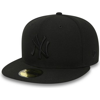 Casquette plate noire ajustée 59FIFTY Black on Black New York Yankees MLB New Era