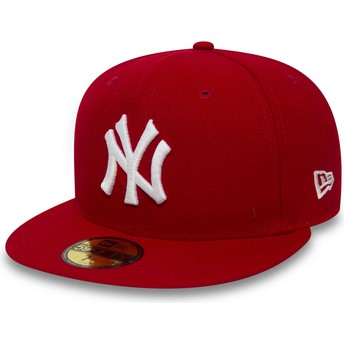 Casquette plate rouge ajustée 59FIFTY Essential New York Yankees MLB New Era