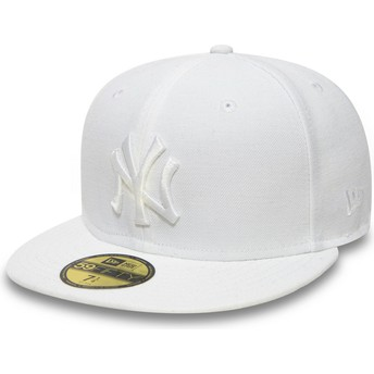 Casquette plate blanche ajustée 59FIFTY White on White New York Yankees MLB New Era