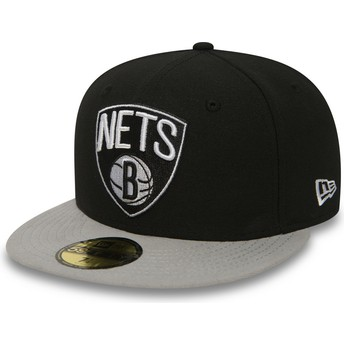 Casquette plate noire ajustée 59FIFTY Essential Brooklyn Nets NBA New Era