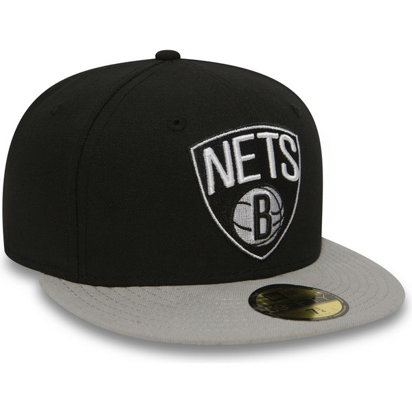 casquette-plate-noire-ajustee-59fifty-essential-brooklyn-nets-nba-new-era