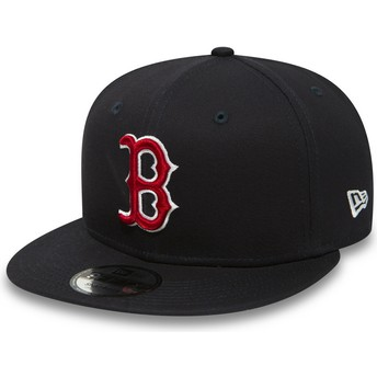 Casquette plate bleue marine snapback 9FIFTY Essential Boston Red Sox MLB New Era