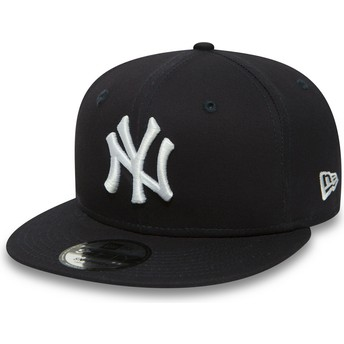 Casquette plate bleue marine snapback 9FIFTY Essential New York Yankees MLB New Era