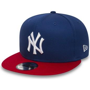 Casquette plate bleue snapback 9FIFTY Cotton Block New York Yankees MLB New Era