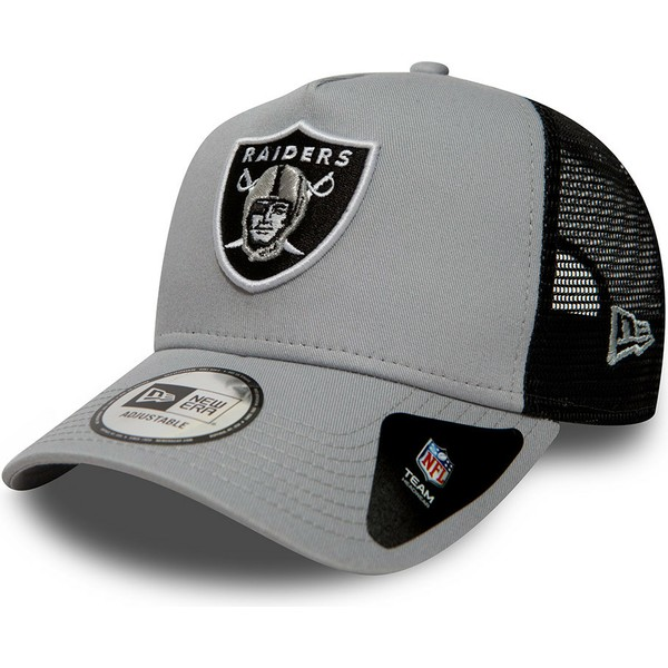 casquette-trucker-grise-essential-a-frame-oakland-raiders-nfl-new-era