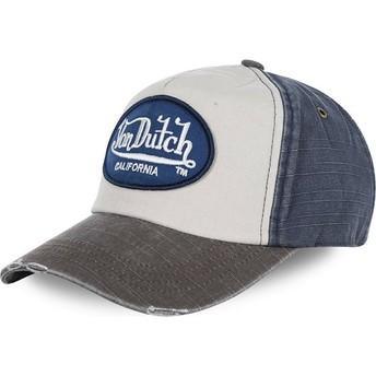 Casquette courbée blanche, bleue et grise ajustable JACKMWB Von Dutch