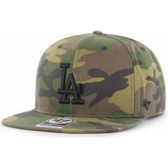 Casquette plate camouflage snapback avec logo noir Los Angeles Dodgers MLB Captain Grove 47 Brand