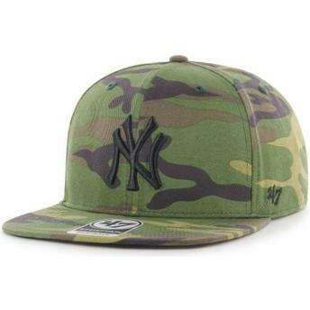 Casquette plate camouflage snapback avec logo noir New York Yankees MLB Captain Grove 47 Brand