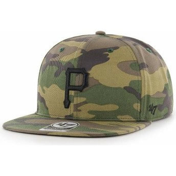 Casquette plate camouflage snapback avec logo noir Pittsburgh Pirates MLB Captain Grove 47 Brand