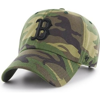 Casquette courbée camouflage avec logo noir Boston Red Sox Clean Up Unwashed 47 Brand