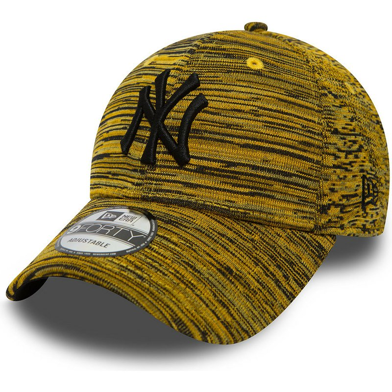 casquette-courbee-jaune-ajustable-avec-logo-noir-new-york-yankees-mlb-9forty-engineered-fit-new-era