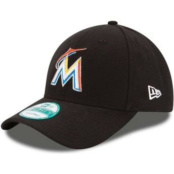 Casquette courbée noire ajustable 9FORTY The League Miami Marlins MLB New Era