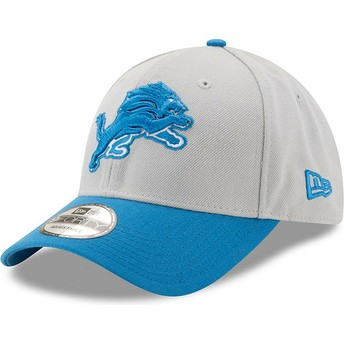 Casquette courbée grise et bleue ajustable 9FORTY The League Detroit Lions NFL New Era