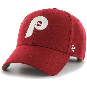 Casquette courbée rouge ajustable avec logo classique Philadelphia Phillies MLB MVP Cooperstown 47 Brand