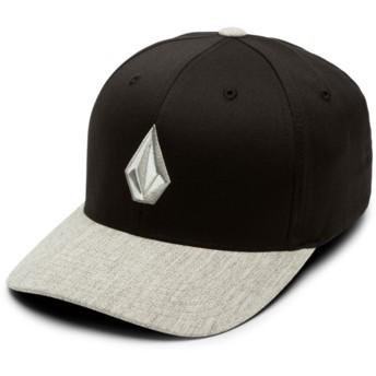 Casquette courbée noire ajustée avec logo et visera grise Full Stone Xfit Storm Volcom